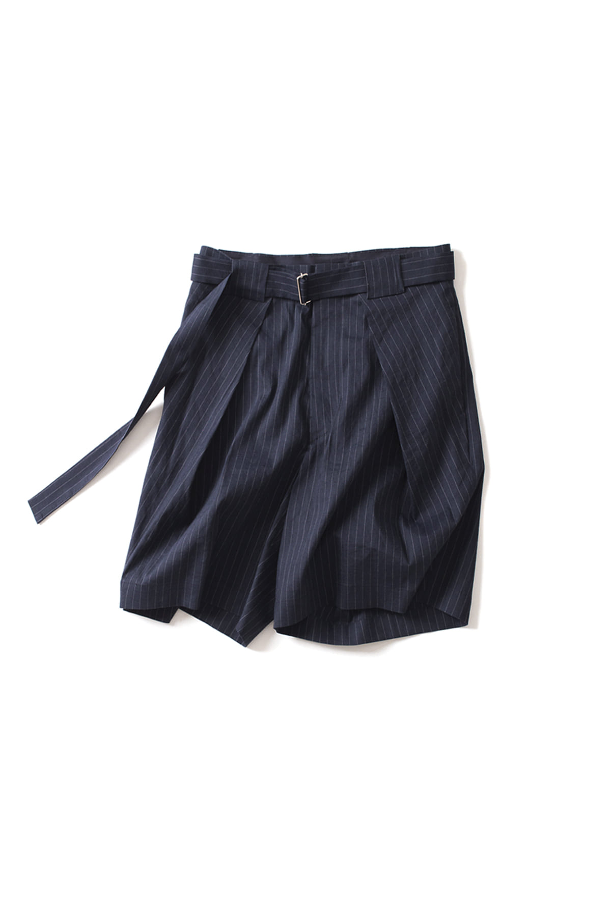 soe : Striped Belted Short Pants (Navy)