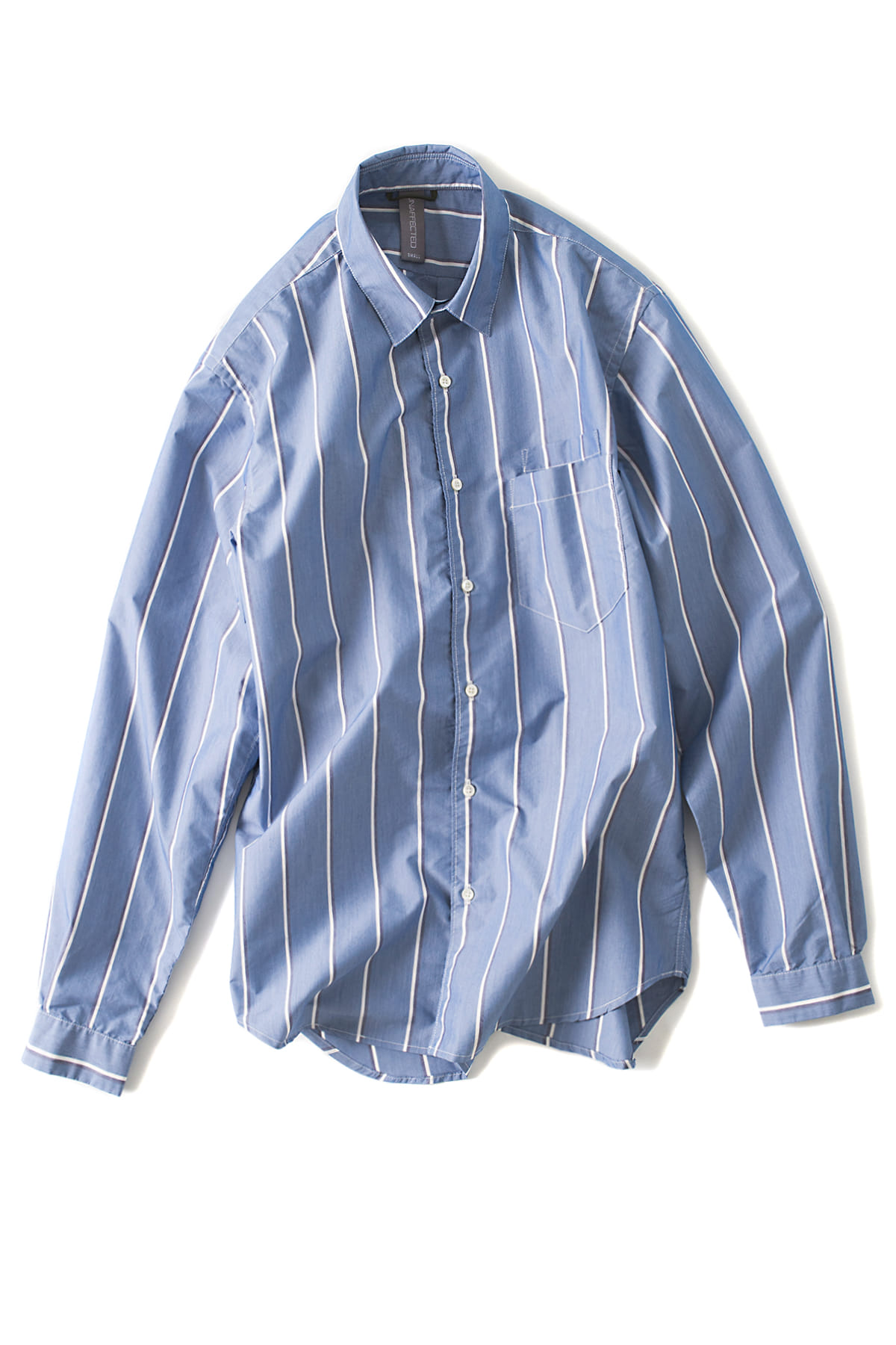 UNAFFECTED : Oversized Basic Shirt (Blue Striped)