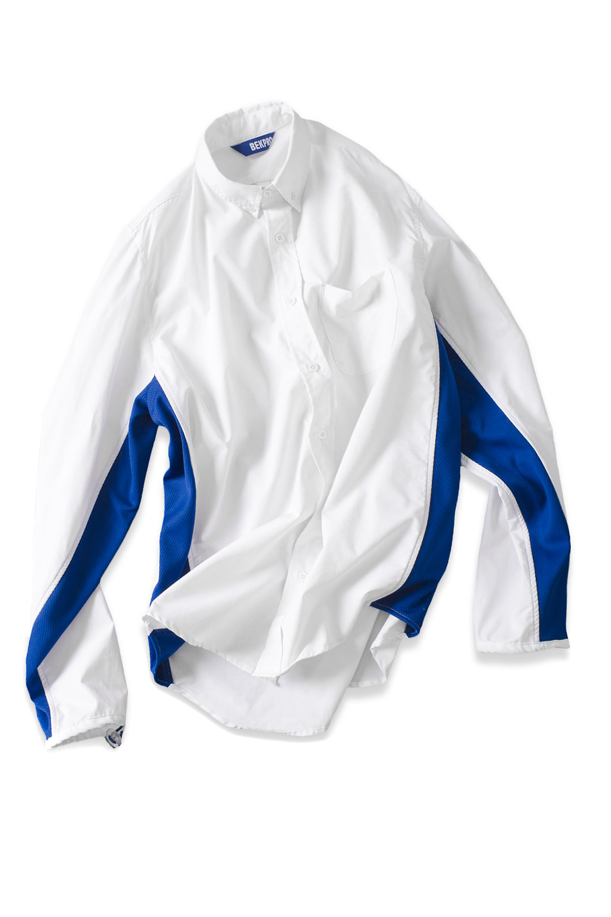 BEKPRO : Mesh Side Panel Shirt (White / Blue)