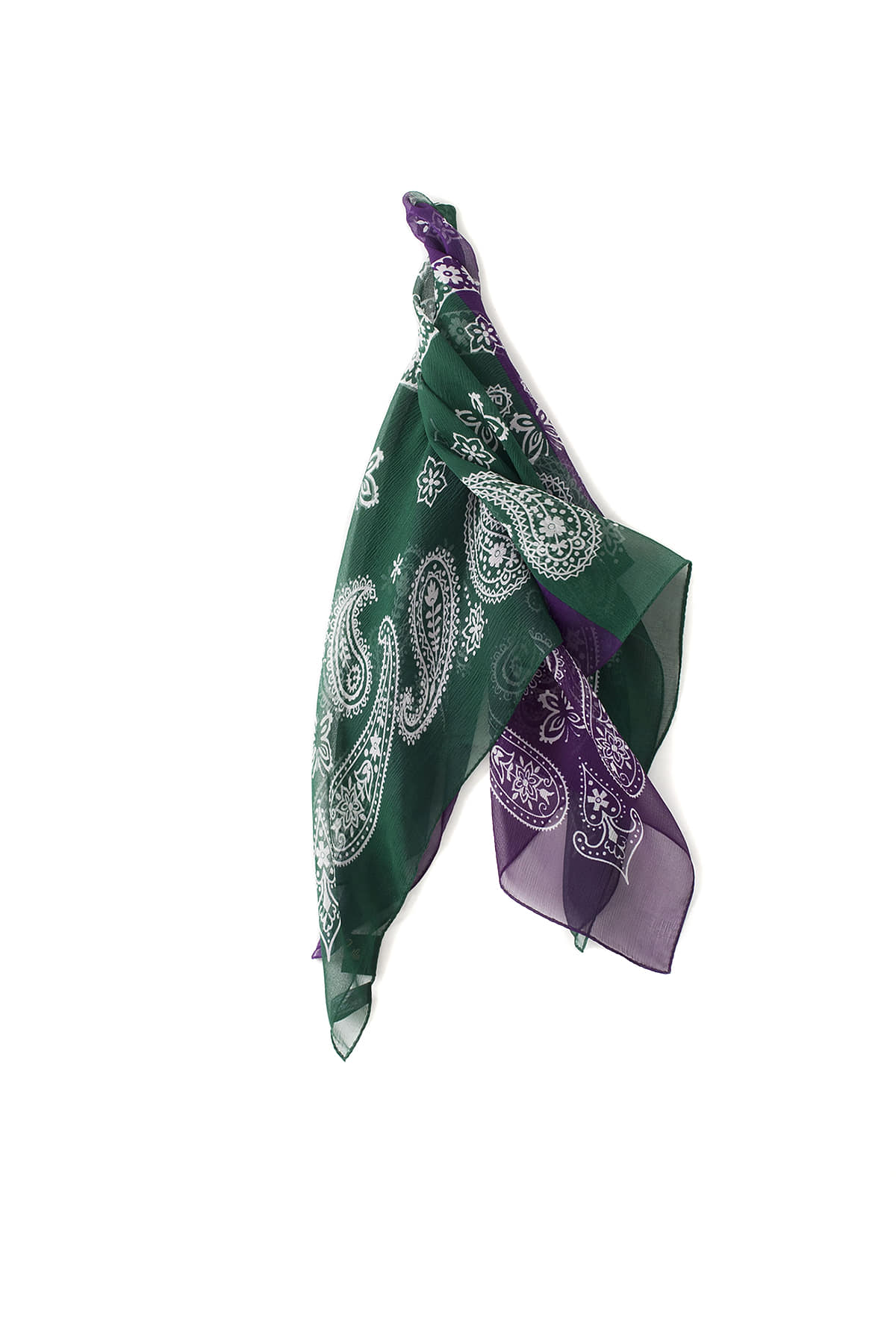 NEEDLES : 2Tone Silk Bandana Scarf (Purple / Green)