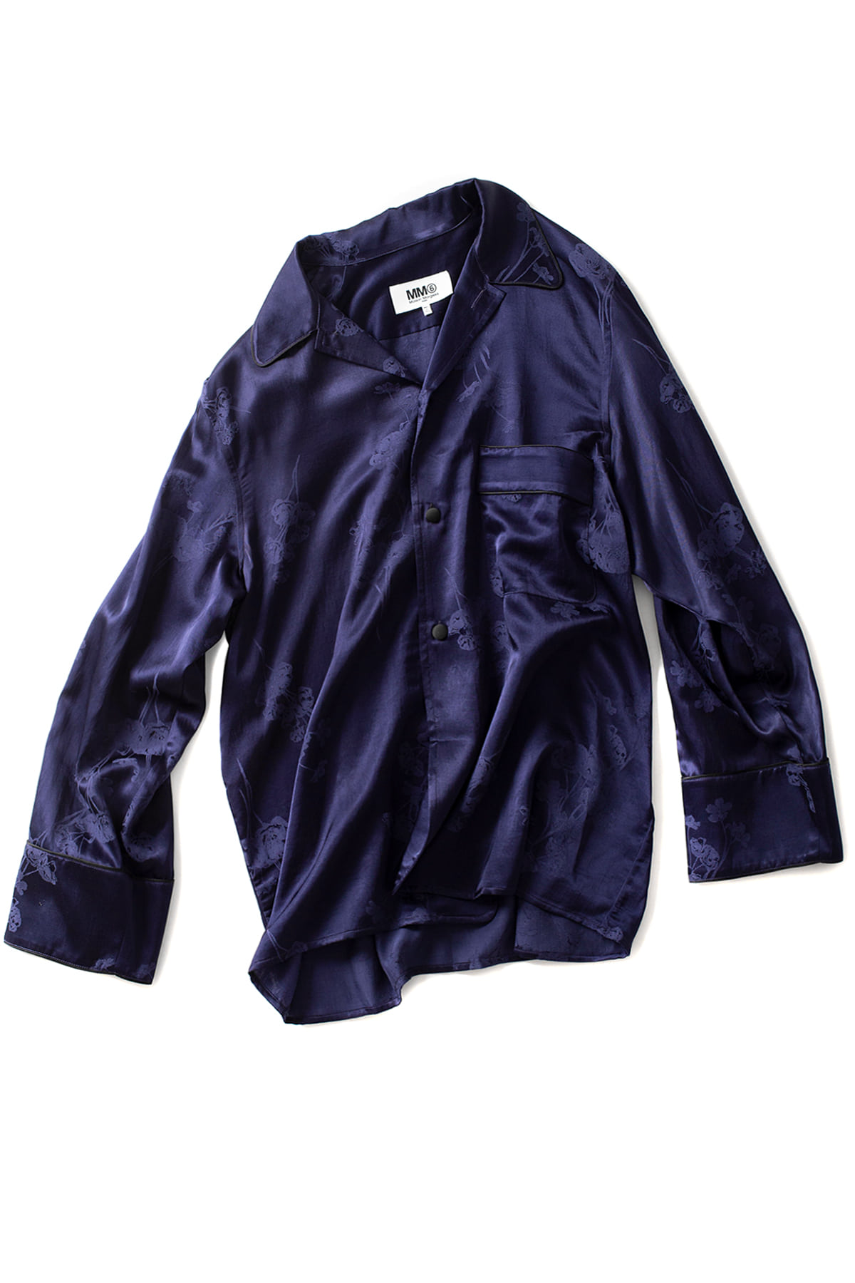 MM6 Maison Margiela : Oversized Jacquard Pajama Shirt (Navy)