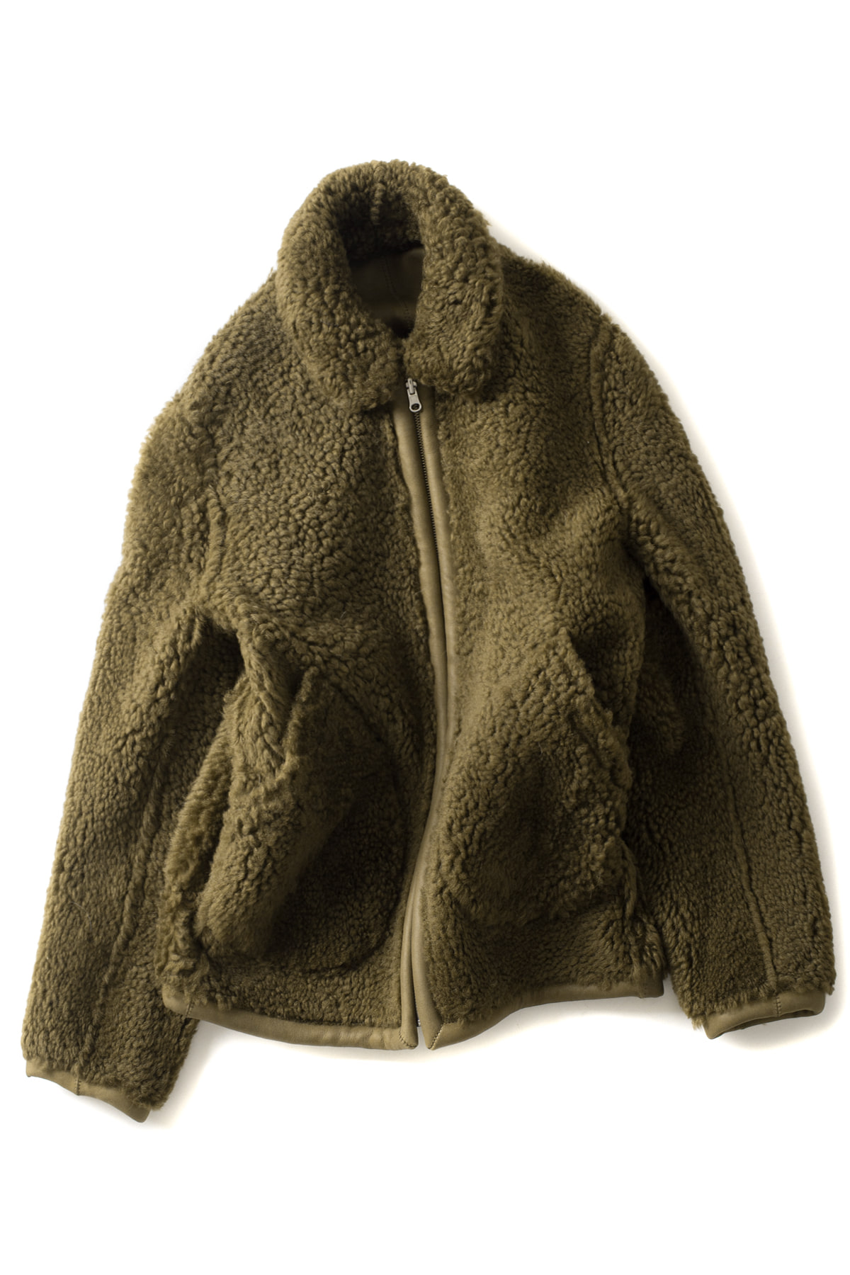Sofie D'Hoore : Zipped Shearling Jacket (Khaki)