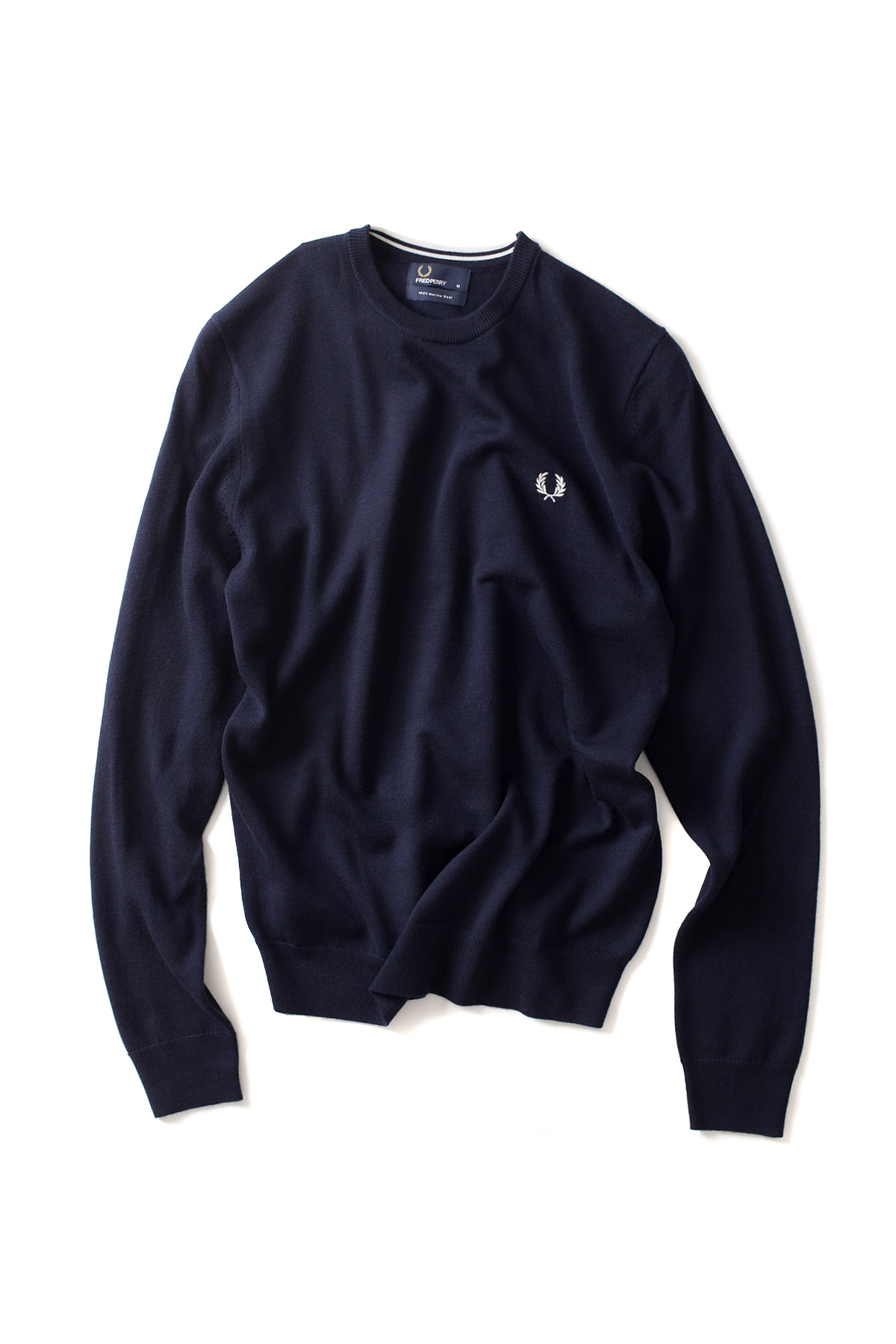 FRED PERRY : Classic Merino Crew Neck Sweater (Dark Carbon)