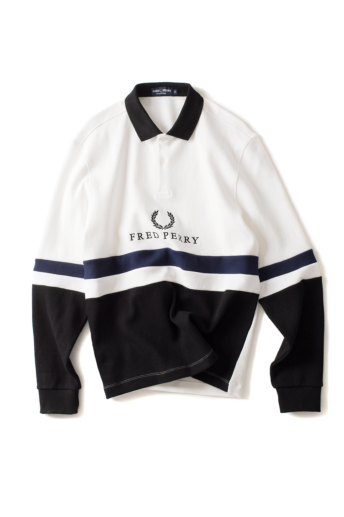 FRED PERRY : Embroidered Rib Sweatshirt (Snow White)