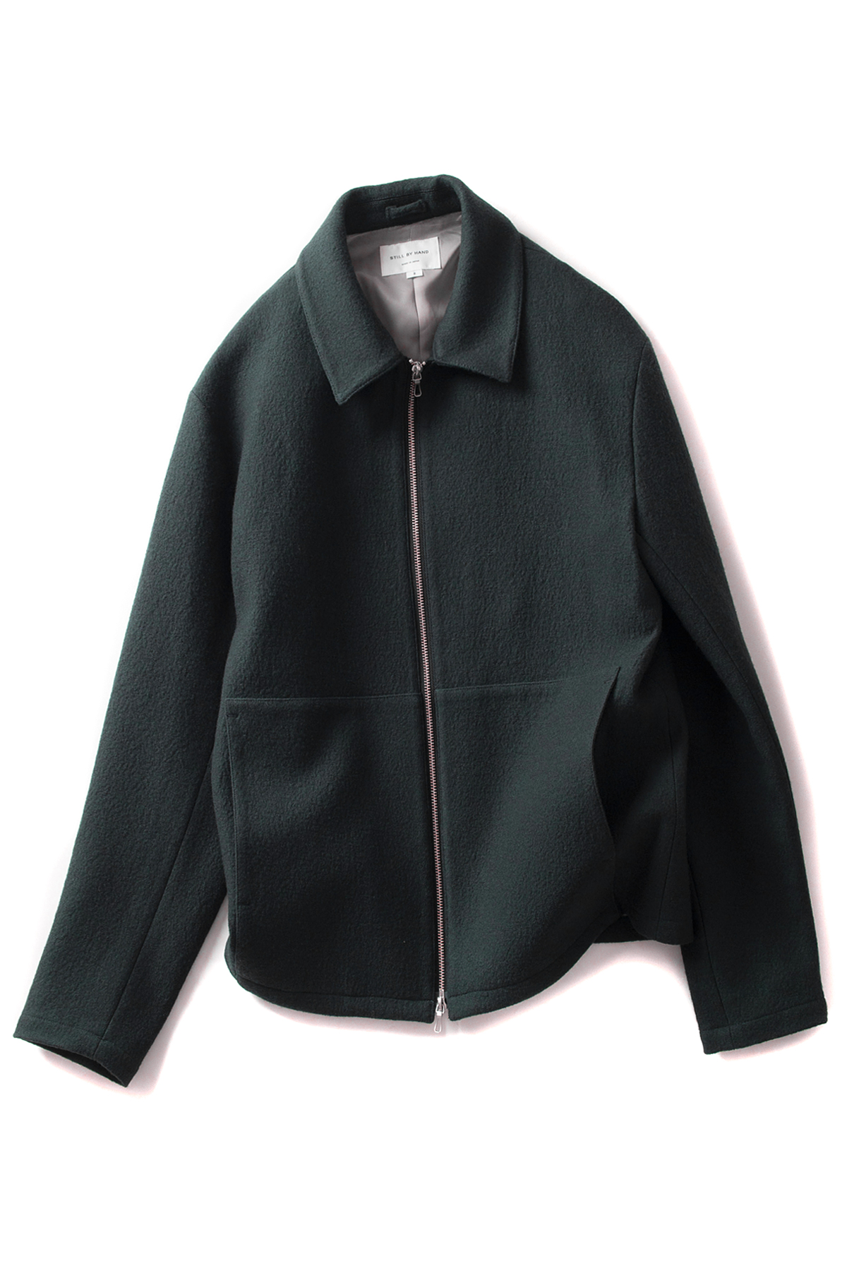 Still by Hand : Loop Yarn Zip-Up Blouson (Green)