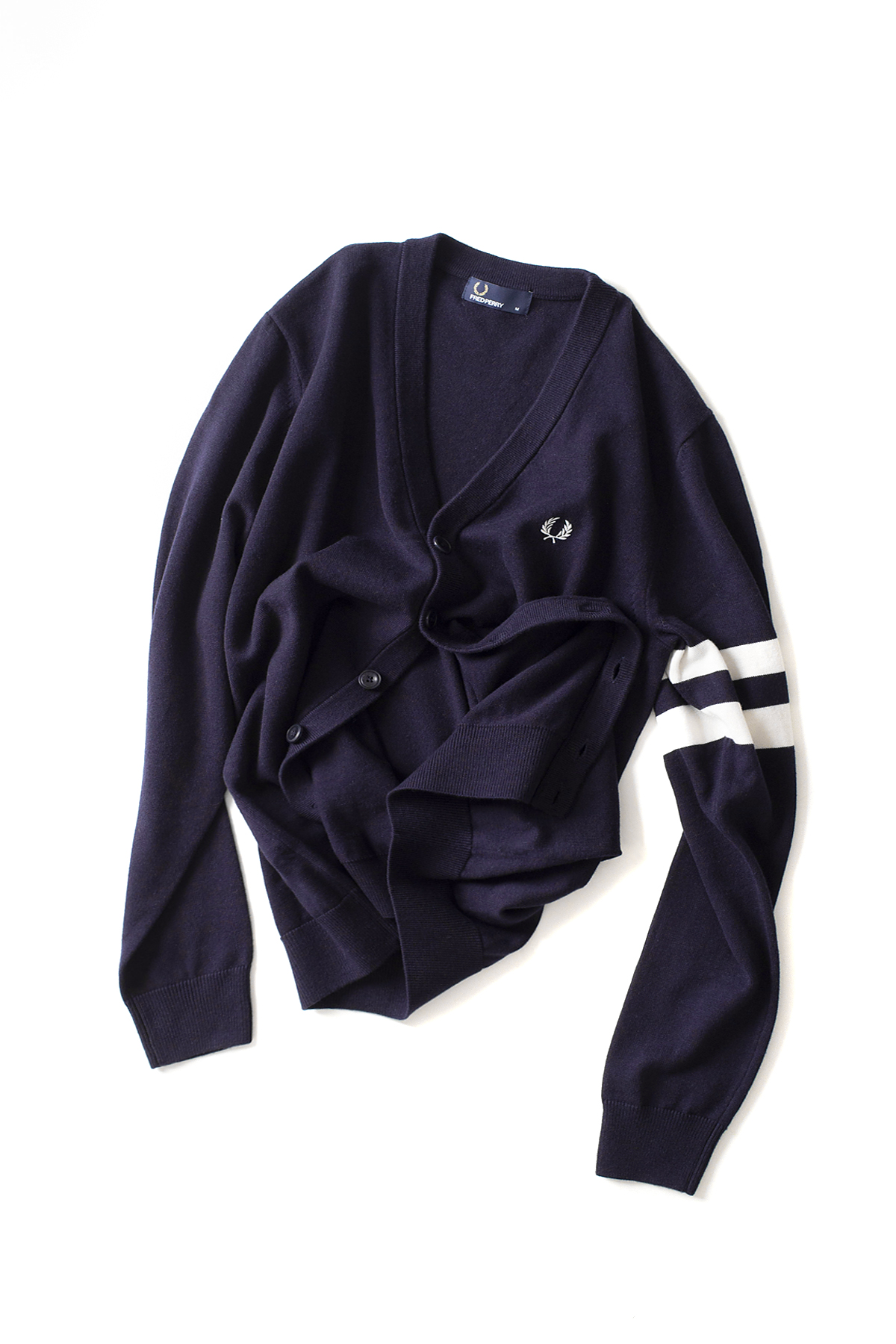 FRED PERRY : Tipped Sleeve Cardigan (Navy)