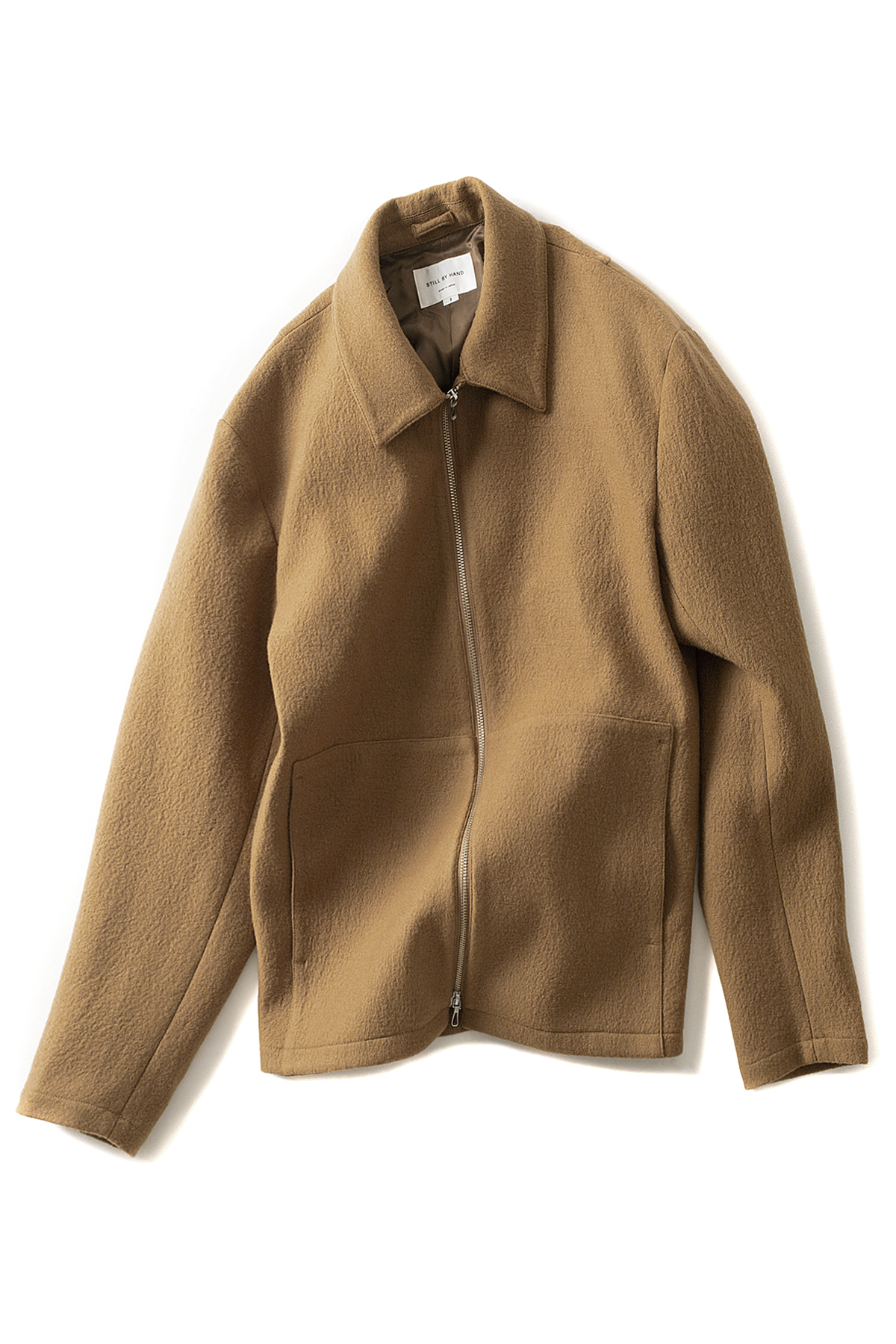 Still by Hand : Loop Yarn Zip-Up Blouson (Camel)
