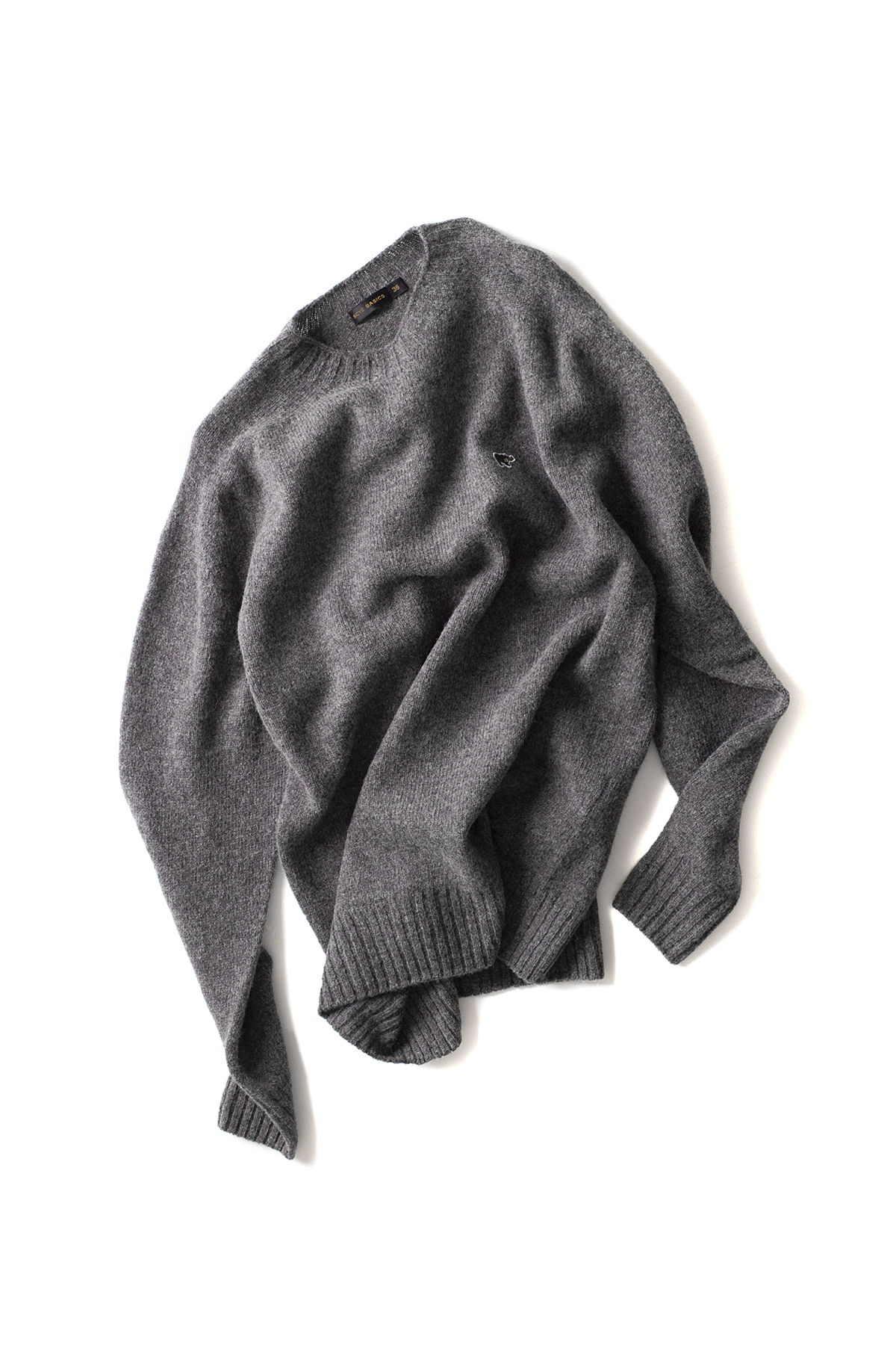 Scye Basics : Shetland Wool Whole Garment Knit Sweater (Grey)