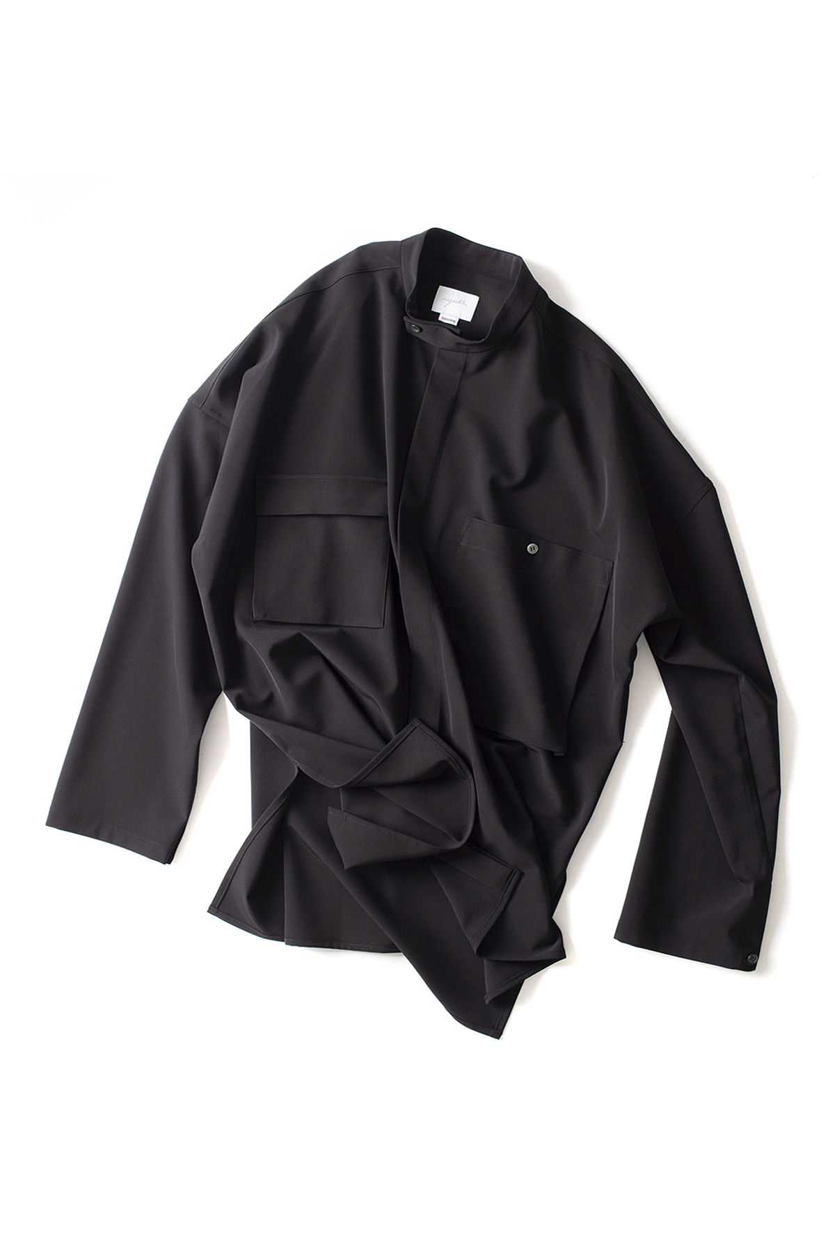 youth : Banded Collar Shirts (Black)
