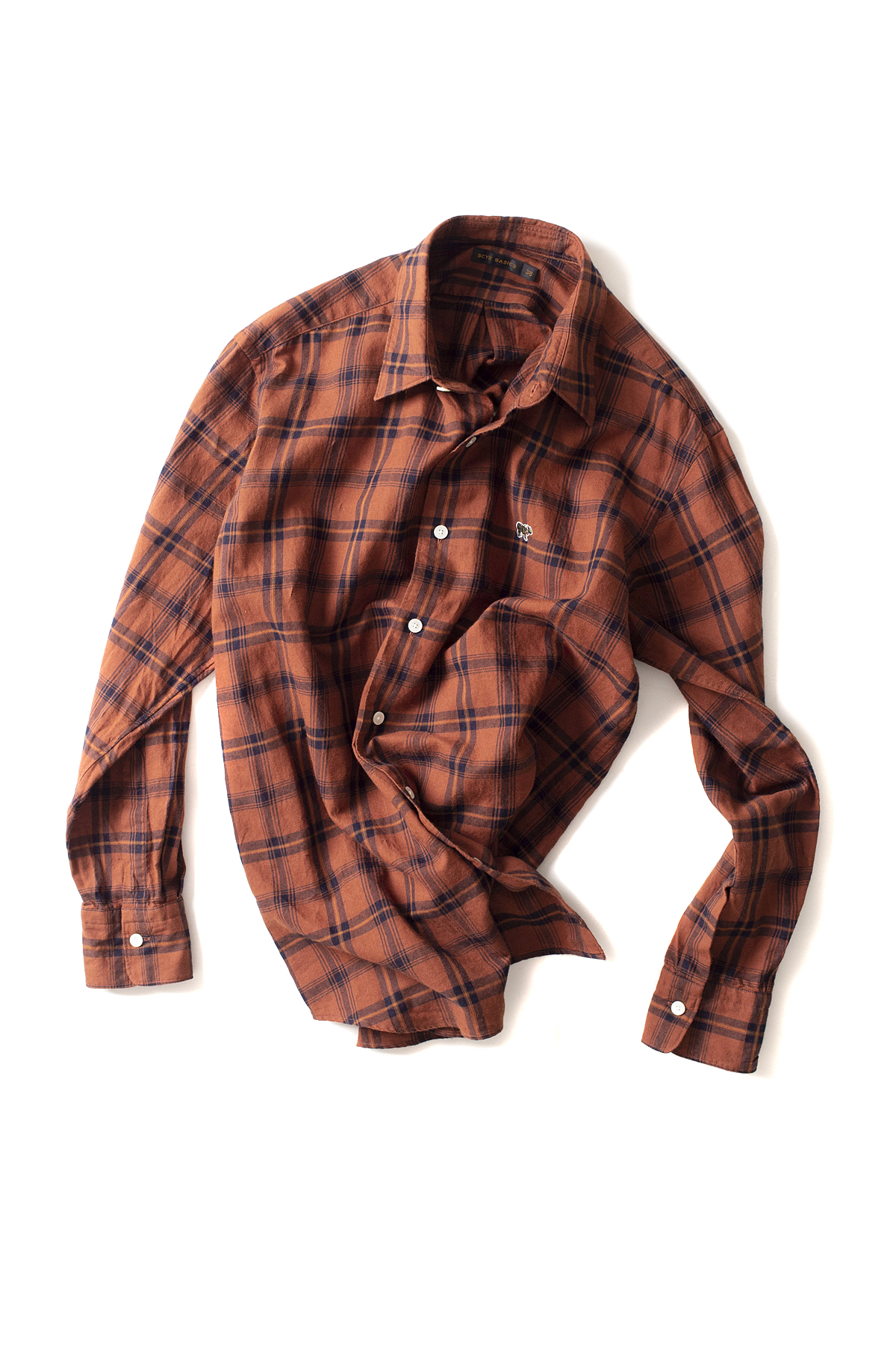 Scye Basics : Checked Cotton Regular Collar Shirts (Brick)