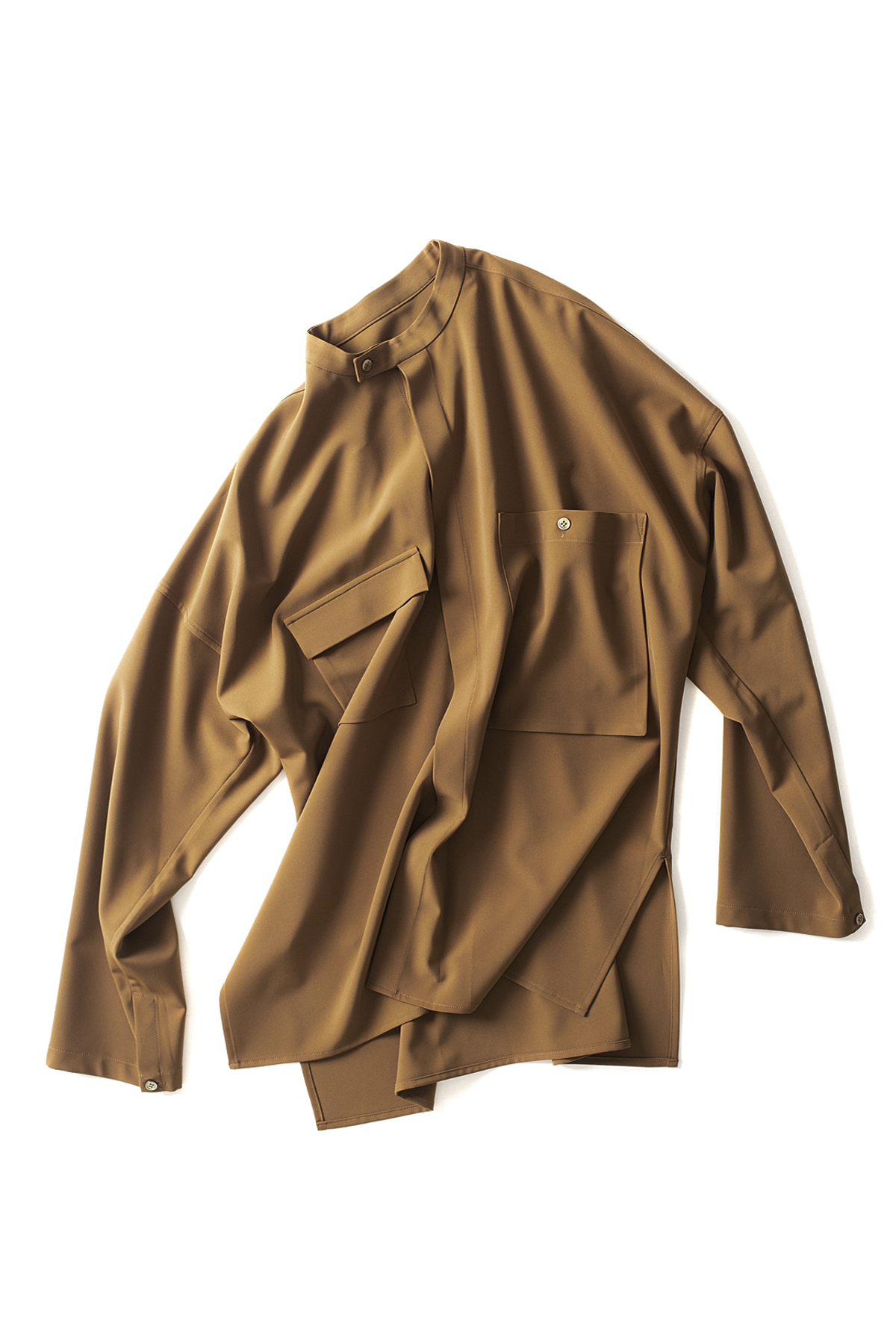 youth : Banded Collar Shirts (Brown)