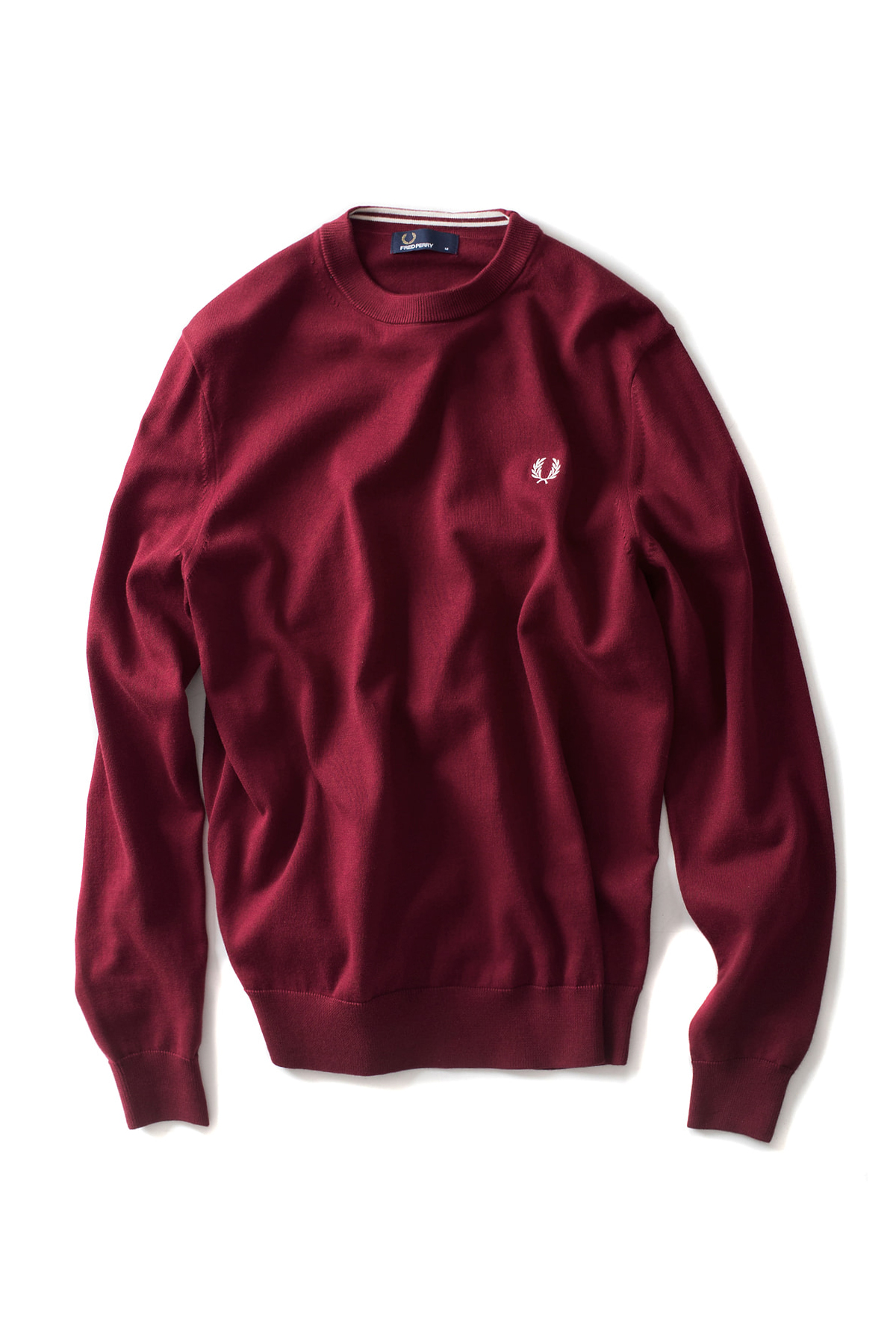 FRED PERRY : Classic Crew Neck Sweater (Dark Red)