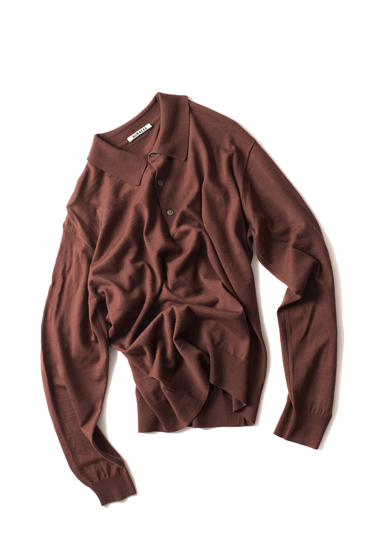 Auralee : Wool Cashmere High Gauge Knit Polo (Brown)