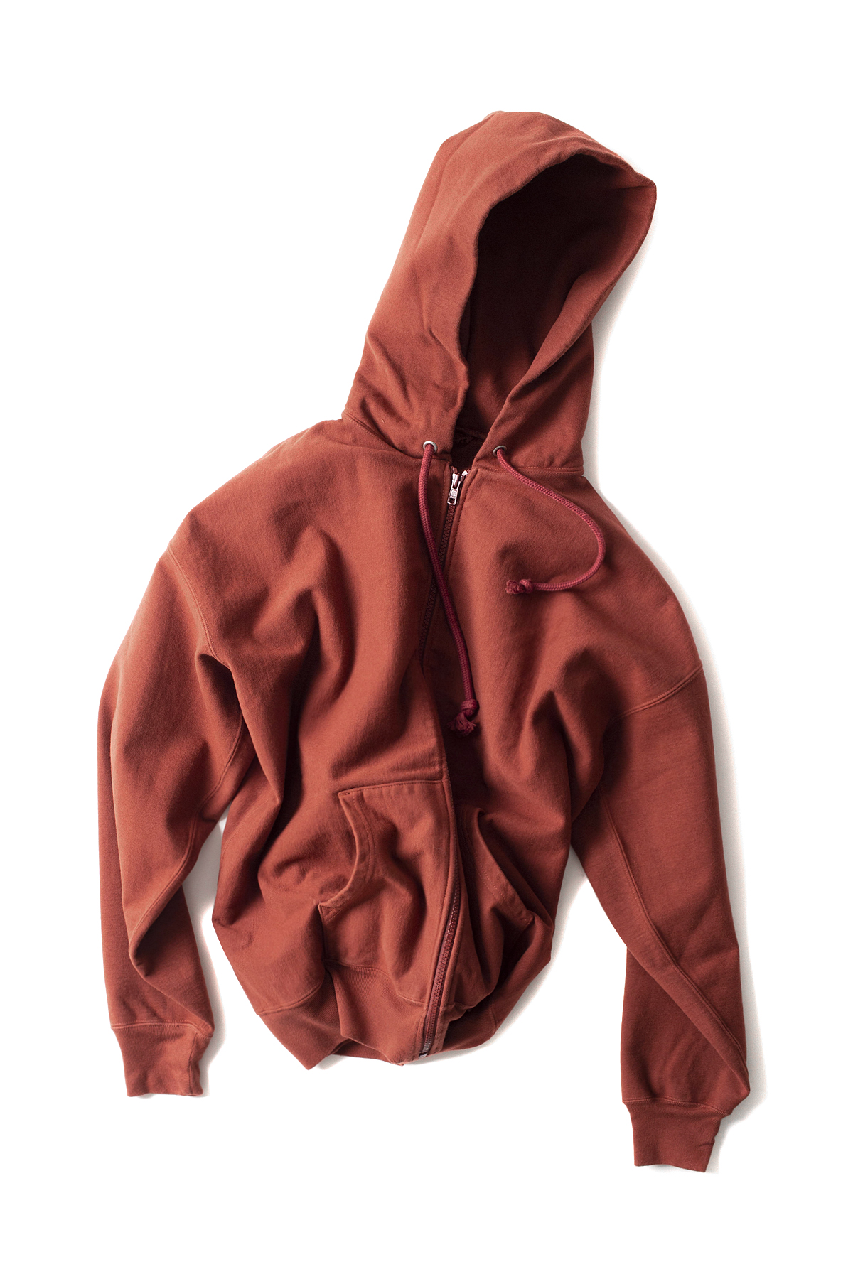 Auralee : Super Milled Sweat Zip Parka (Red Brown)
