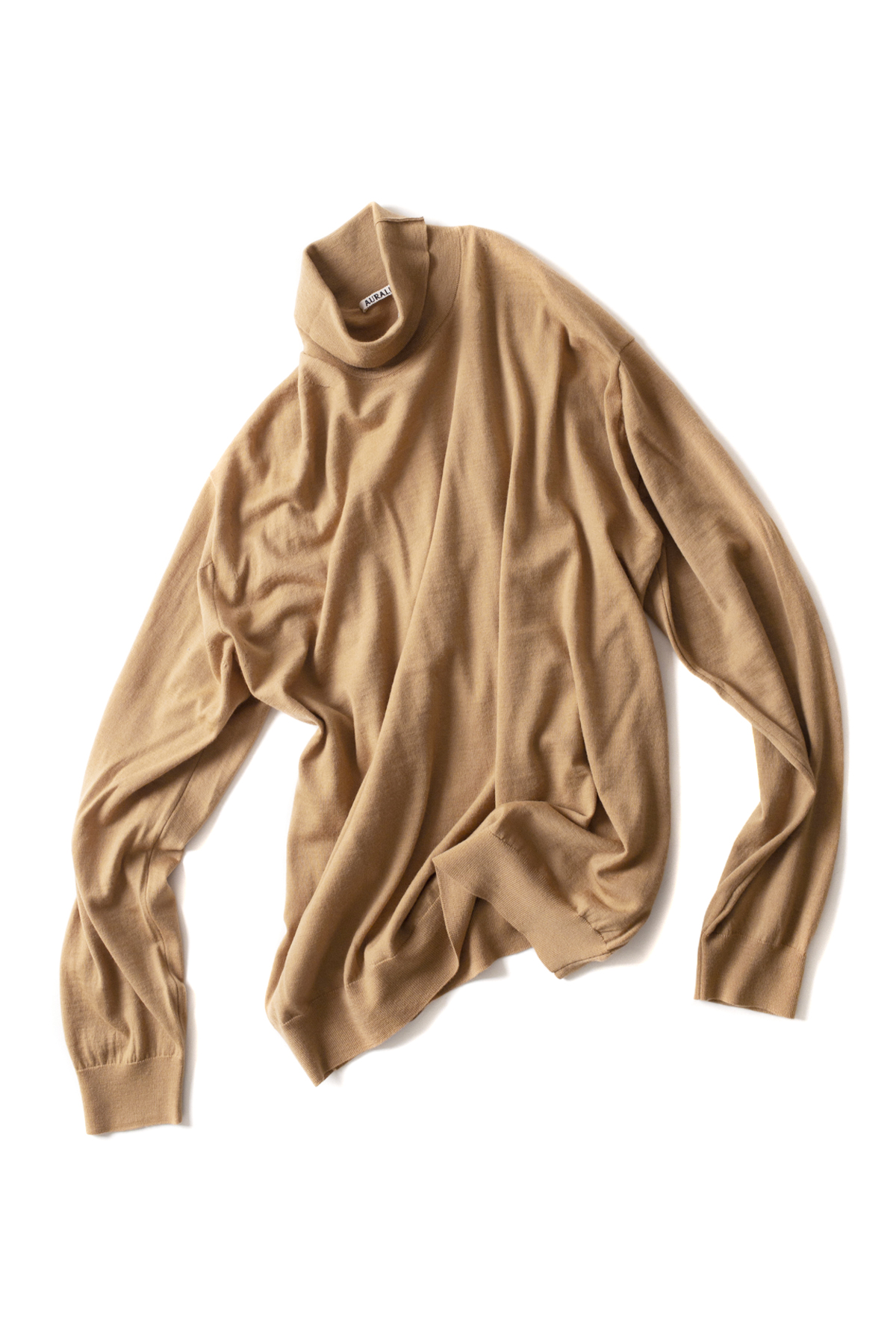 Auralee : Wool Cashmere High Gauge Knit Turtle Nack (Beige)