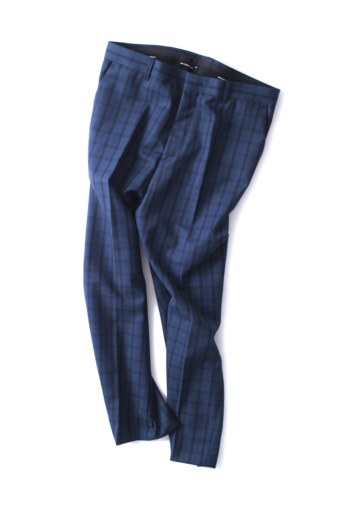 BIRTHDAYSUIT : Wool Check Slim Pants (Navy)