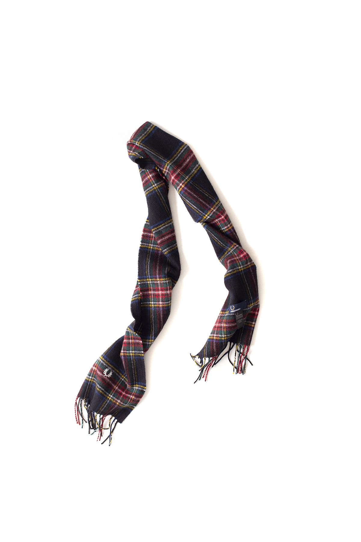 FRED PERRY : Black Stewart Tartan Scarf (Black)