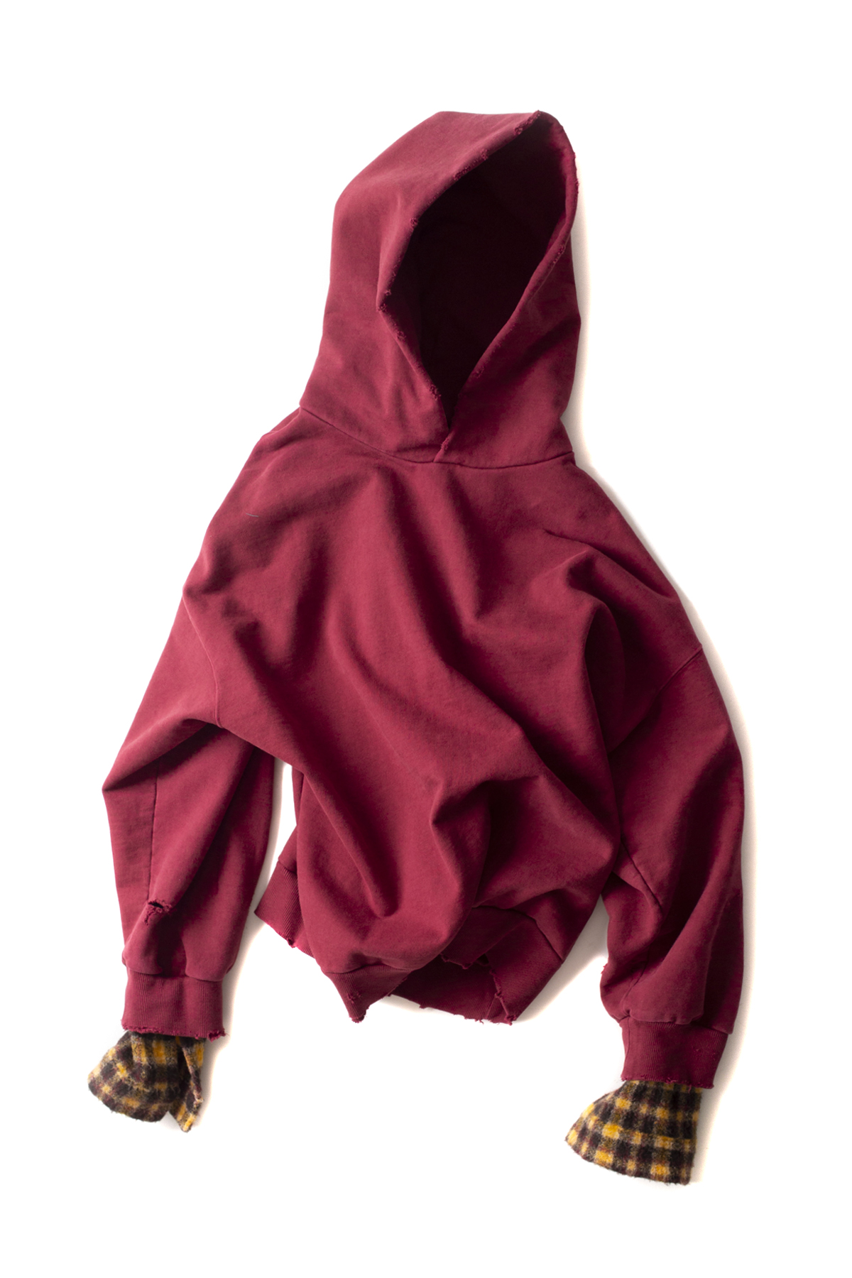 BIRTHDAYSUIT : Wool Check Oversized Hoody (Burgundy)