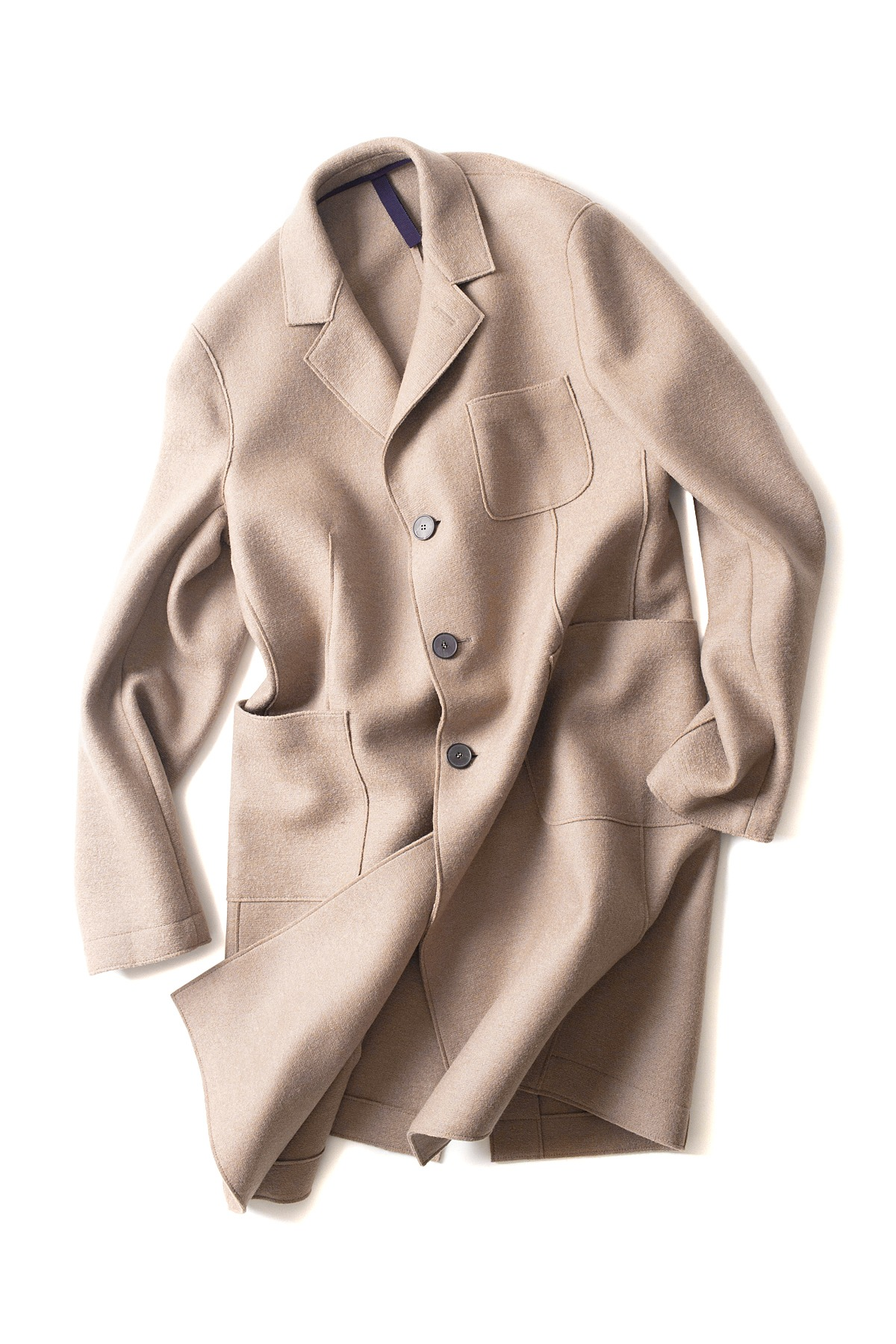 Harris Wharf London : 3 Pocket Pressed Wool Coat (Camel)