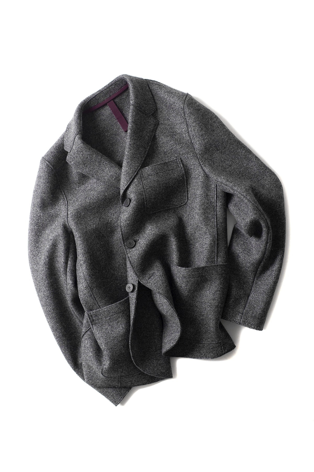 Harris Wharf London : 3.B Boxy Pressed Wool Jacket (Charcoal)