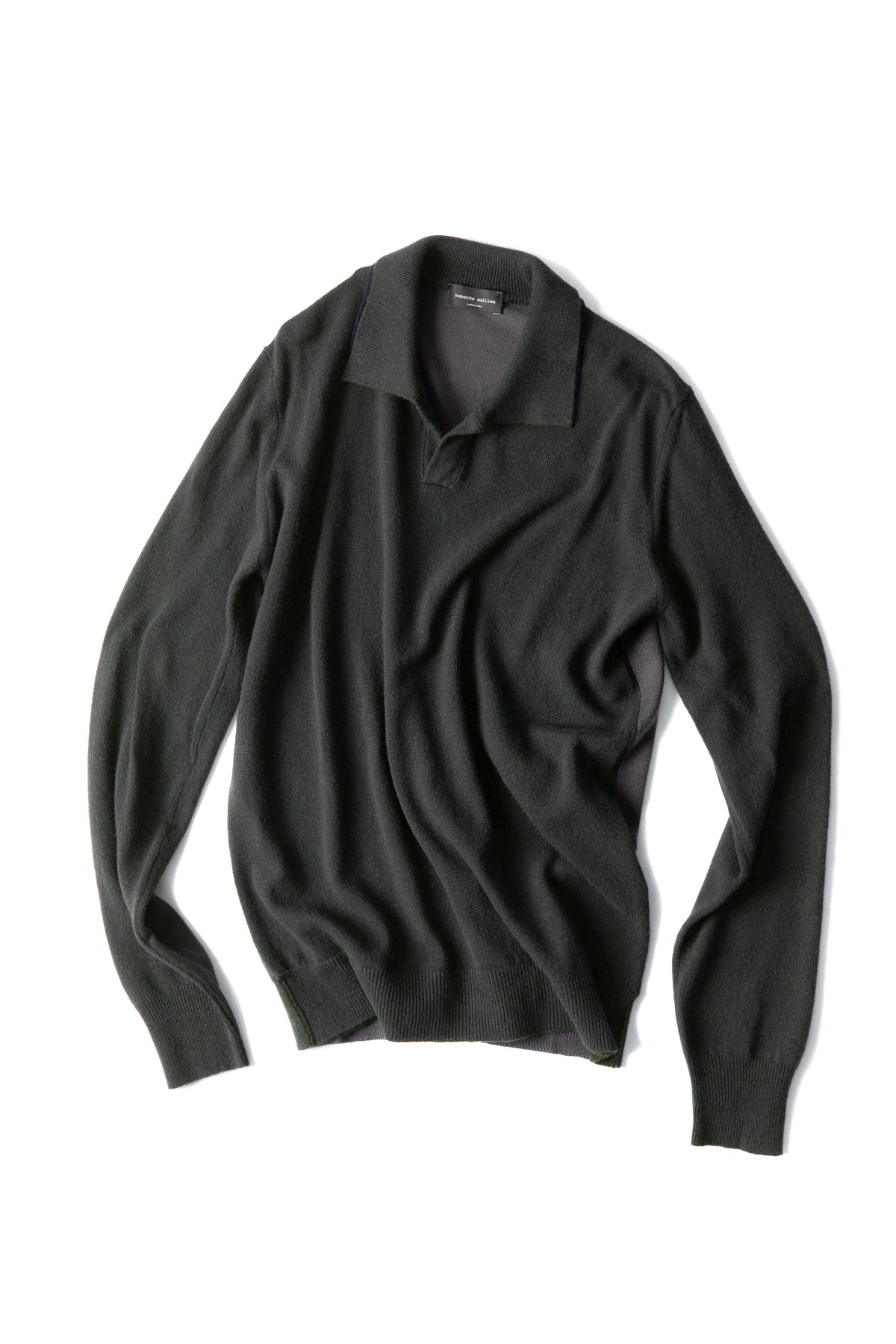 roberto collina : L/S Knit 3Colors Polo (Deep Green)