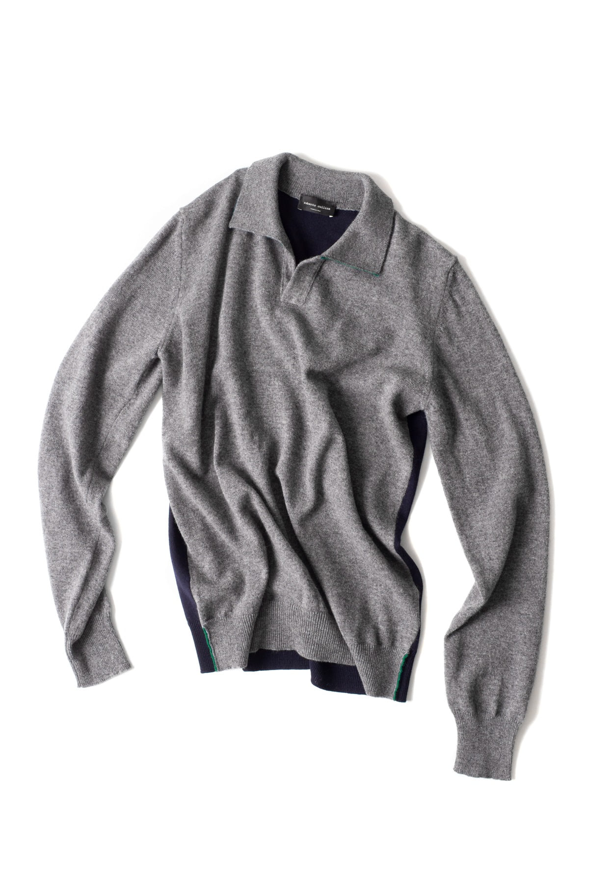 roberto collina : L/S Knit 3Colors Polo (Grey)