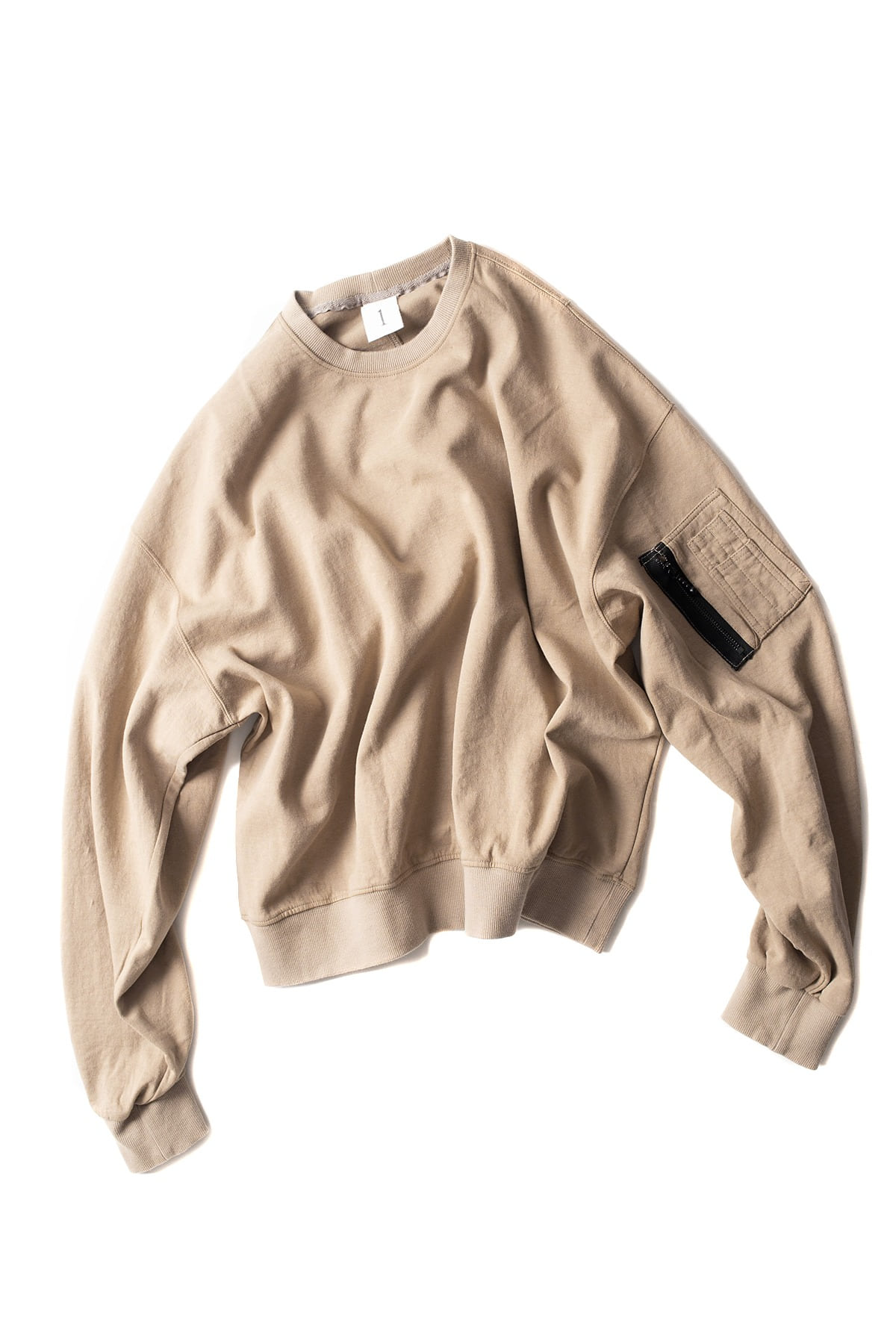 Ooparts : Ma-1 Cotton-jersey Sweatshirt (Beige)