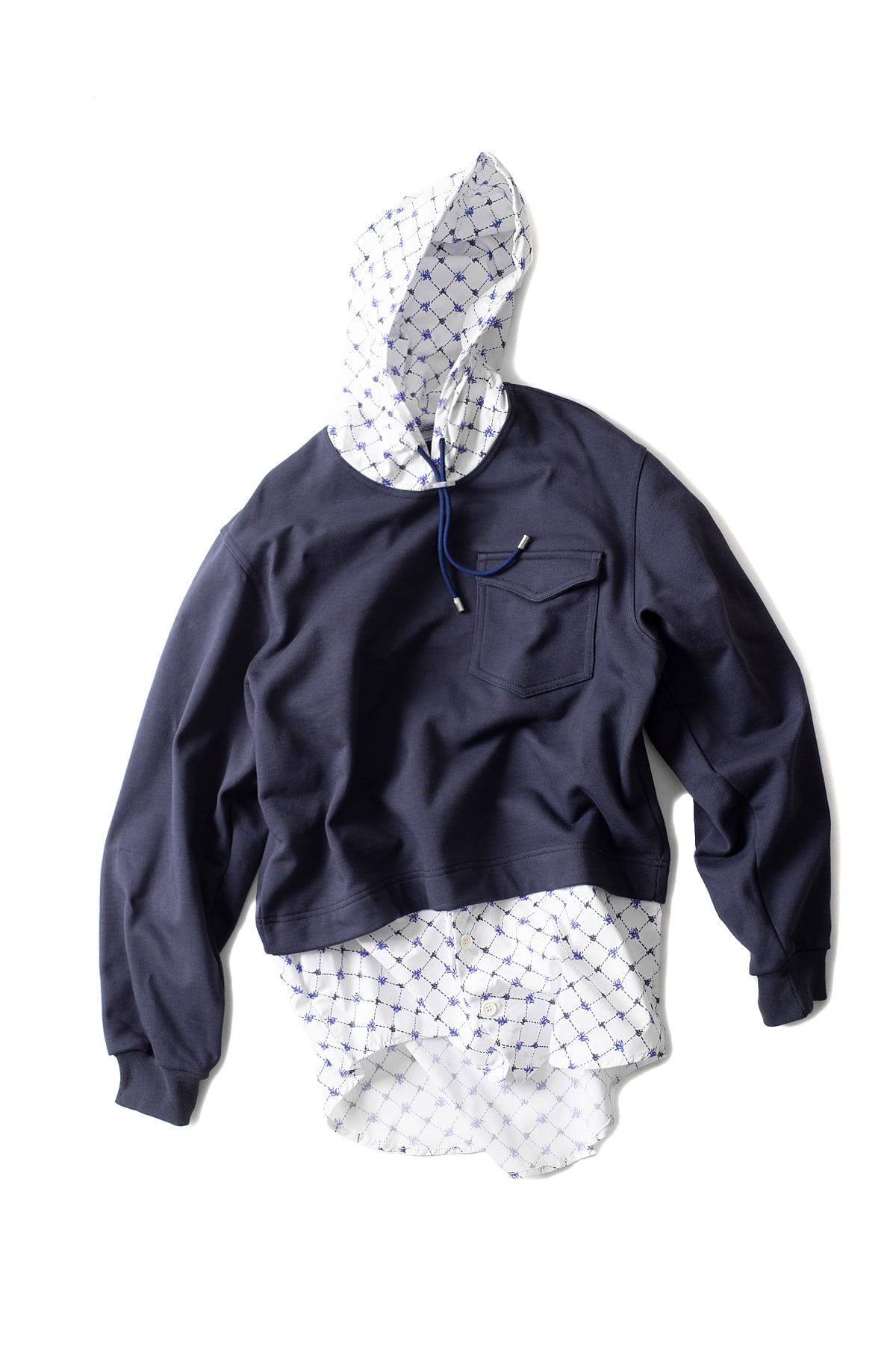 SUNNEI : Hoodie With Popeline Details (Navy)