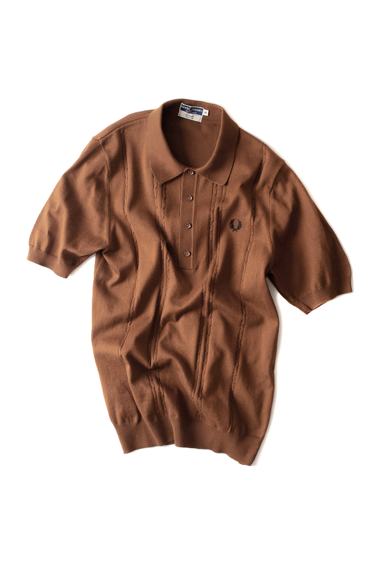 FRED PERRY : S/S Cable Knitted Shirt (Dark Caramel)