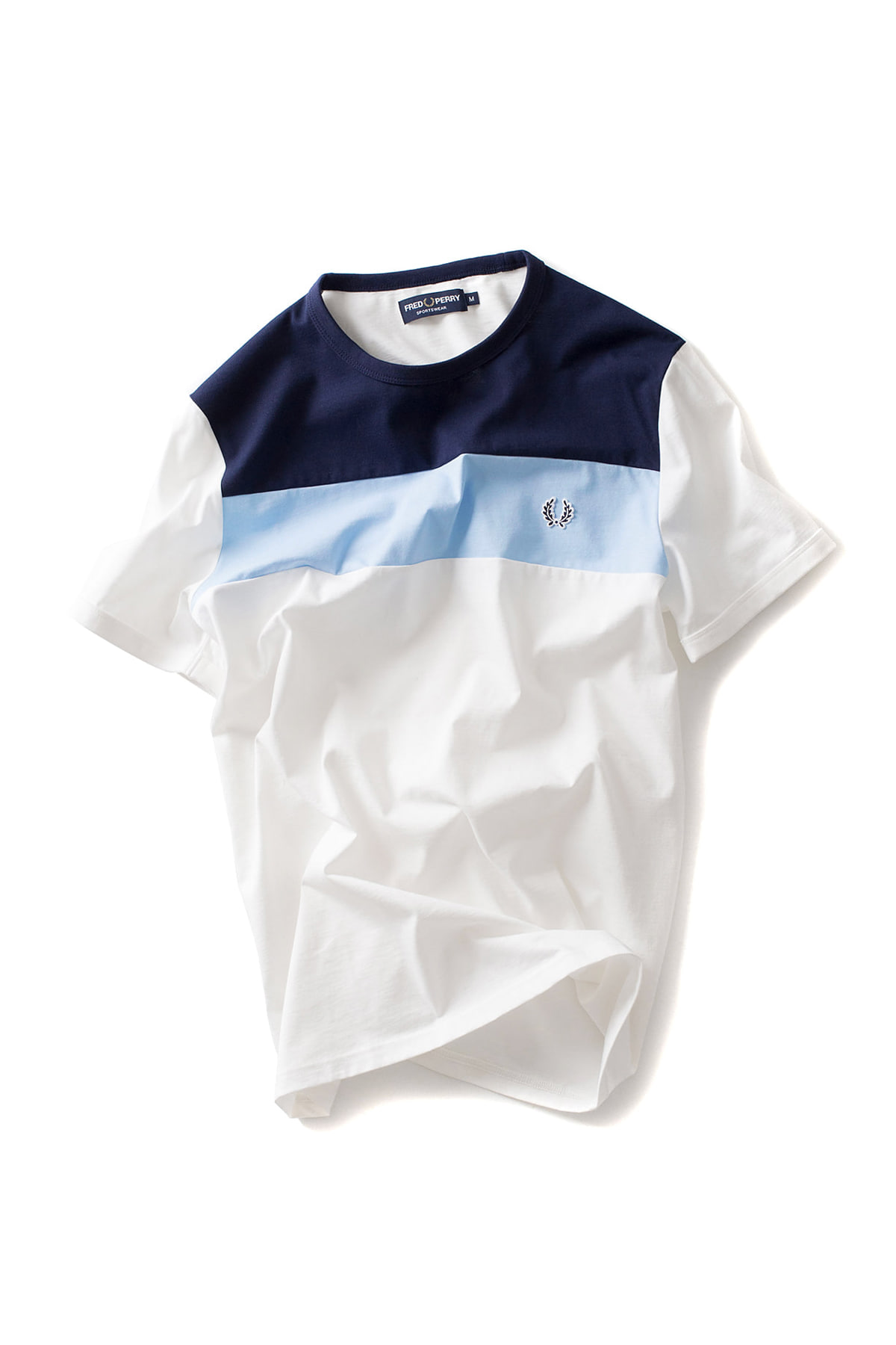 FRED PERRY : Colour Block Panel T-Shirt (White)
