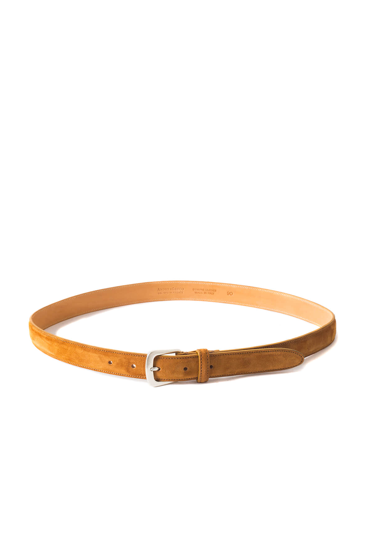 ANDREA GRECO : Cachemere Suede Calf Leather Belt (Coffee)