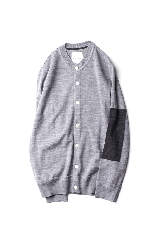 Still by Hand : Crew Neck Wool Cardigan (Grey)