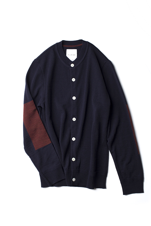 Still by Hand : Crew Neck Wool Cardigan (Navy)