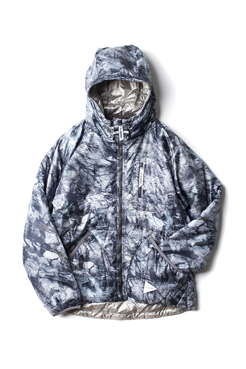 and wander : Rock Printed insulation hoodie Parka