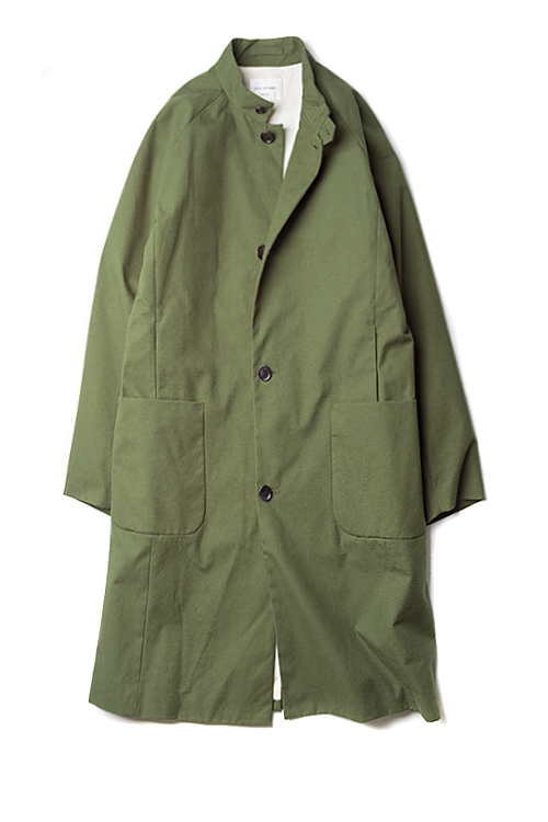 Still By Hand : Stand Collar Coat (Olive)