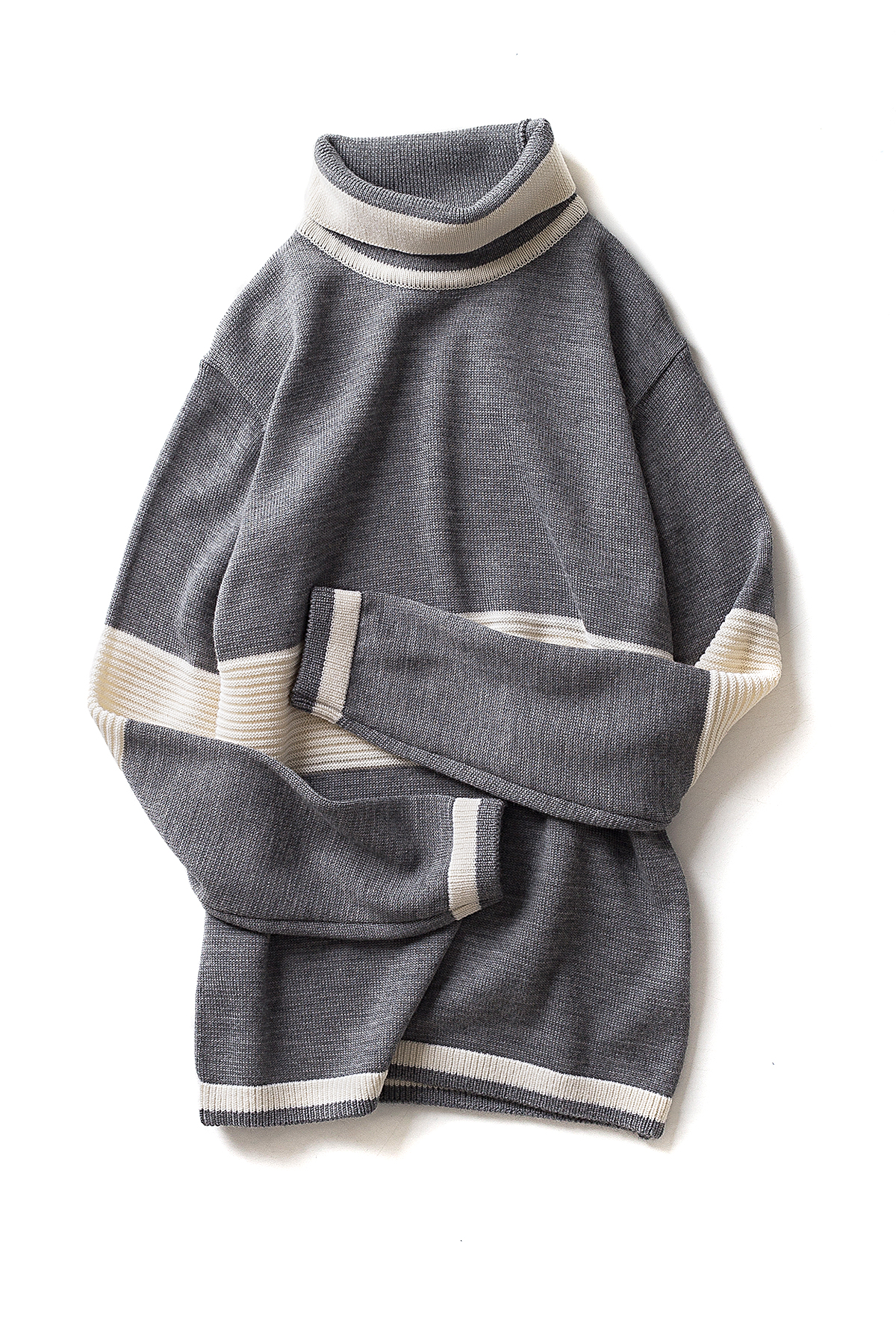 Ooparts : Roll Neck Striped Wool Sweater (Grey)