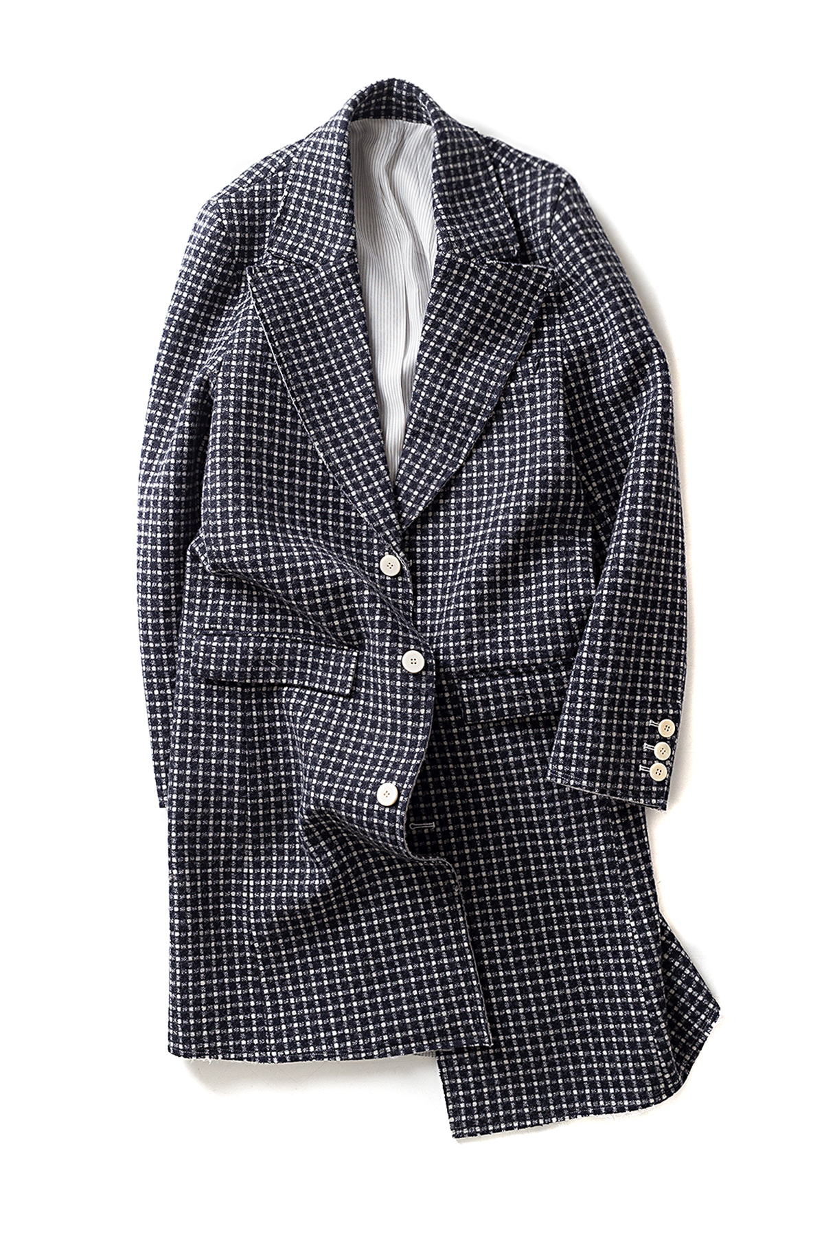 Ooparts : Notched-Lapel Wool Coat (Grey x Navy Circle Check)