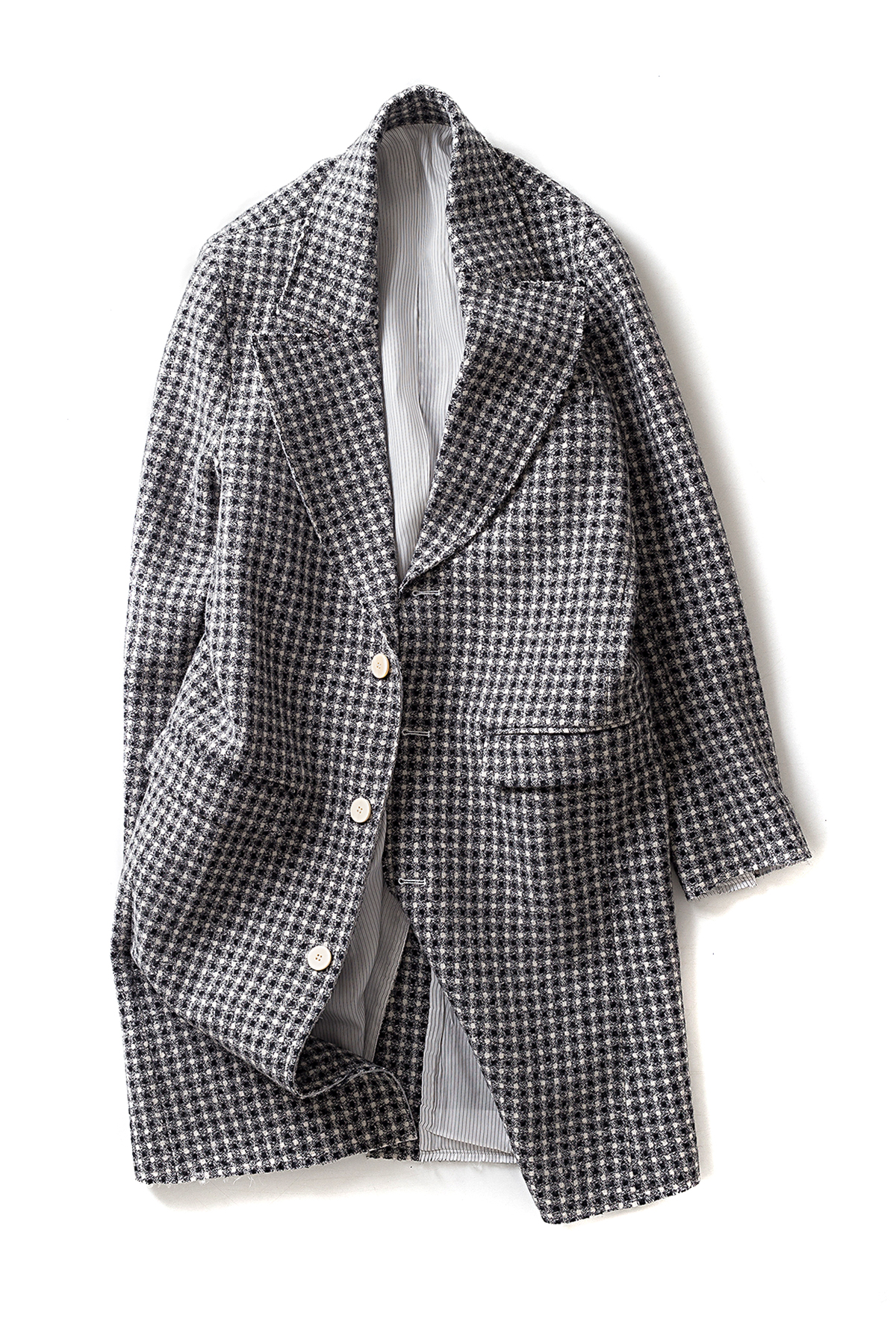 Ooparts : Notched-Lapel Wool Coat (White x Black Circle Check)