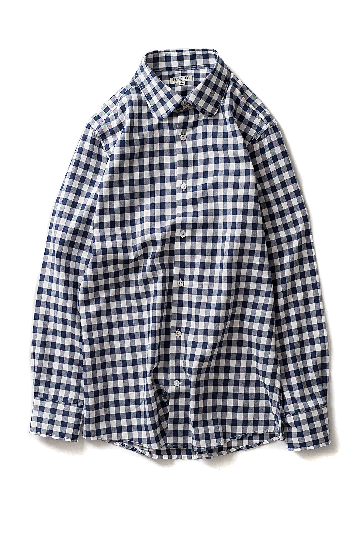 BANTS : Flannel Round Collar Shirts (Navy / White)